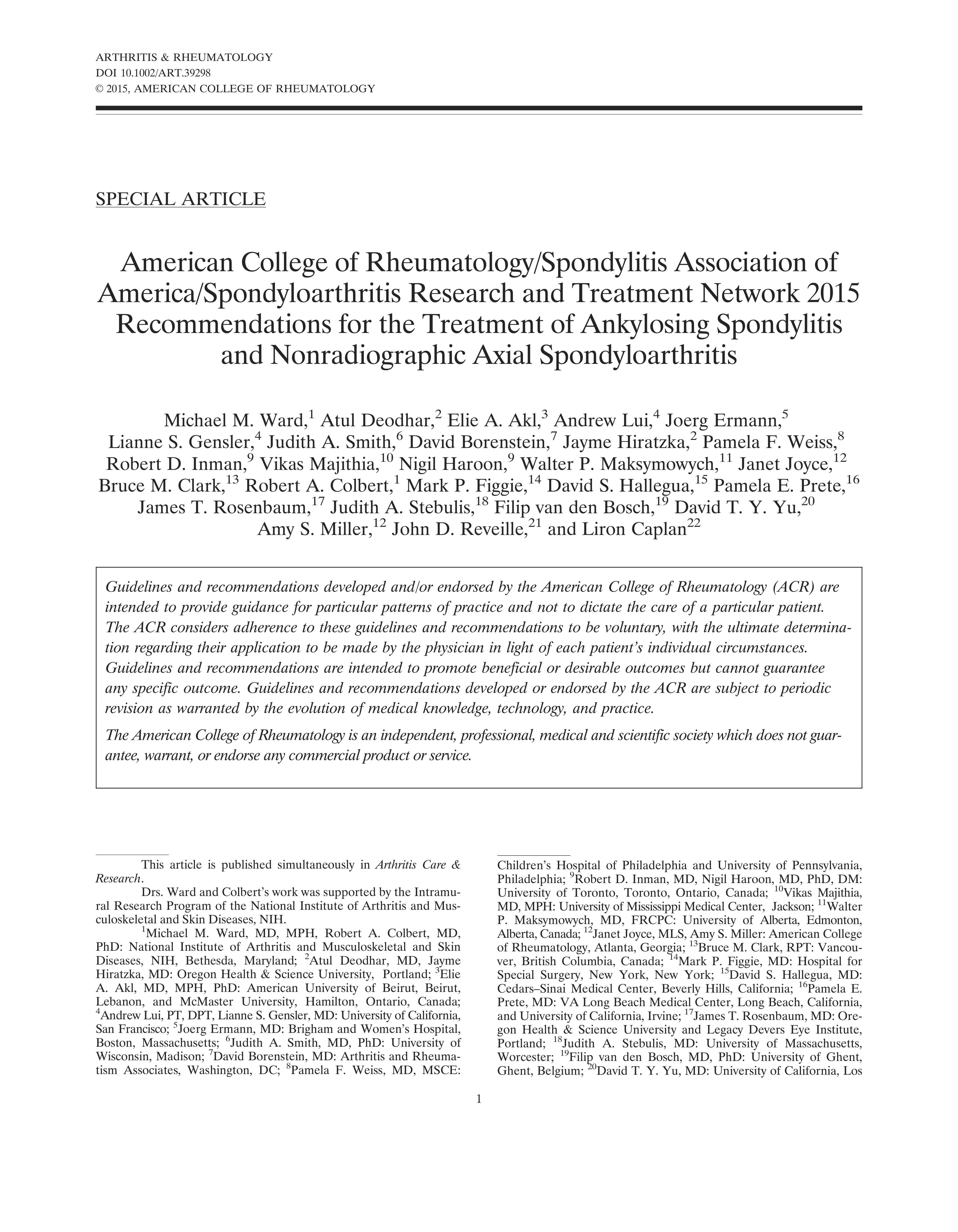 American College of Rheumatology/Spondylitis Association of America/Spondyloarthritis Research and Treatment Network 2015 Recommendations for the Treatment of Ankylosing Spondylitis and Nonradiographic Axial Spondyloarthritis